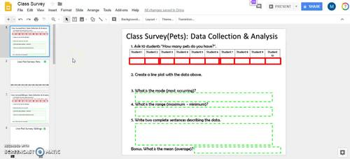 Digital Activity: Class Surveys & Line Plots