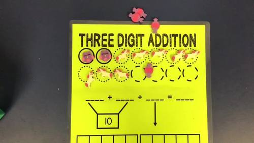 3 Digit Addition Mats for Mini Erasers