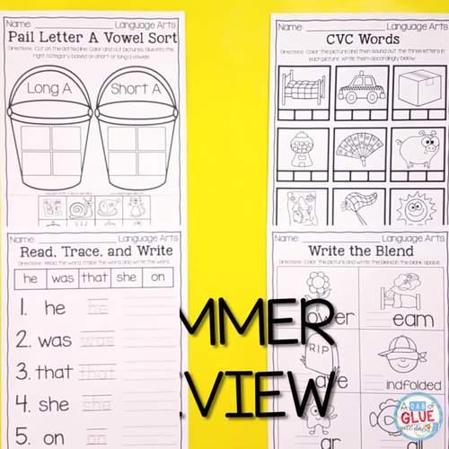 Preschool (PreK, Pre-K) Summer Review - Summer Homework