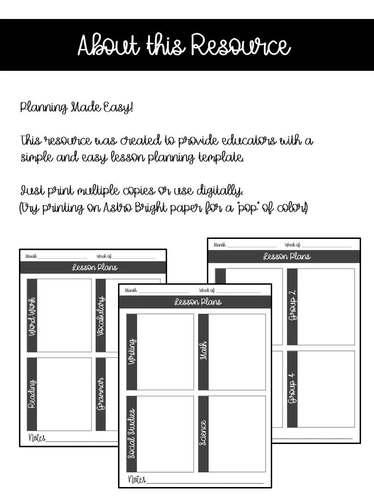 Lesson Planning Template EDITABLE
