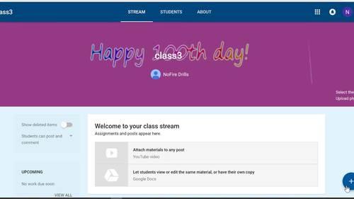 Google Classroom Animated Theme (100th Day)