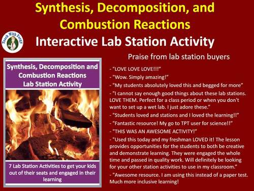 Synthesis, Decomposition & Combustion Reactions - 7 Engaging Lab Stations