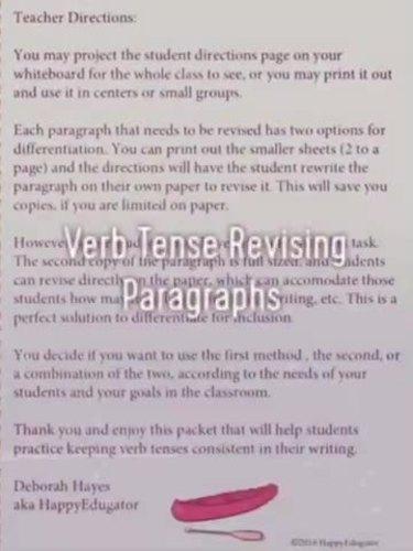 Verb Tense Shifts Paragraph Revising Worksheets By Happyedugator