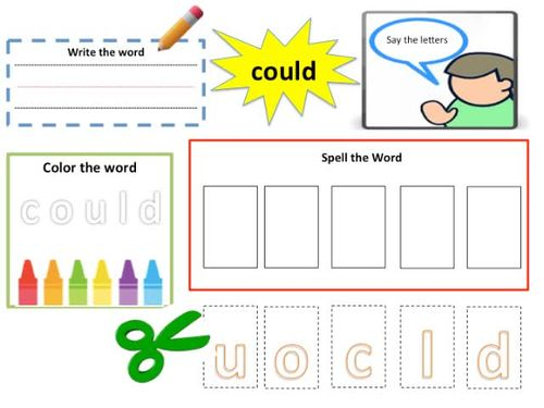 Sight Words Pre-K: Activity Task Card for Each Word + Matching Cards