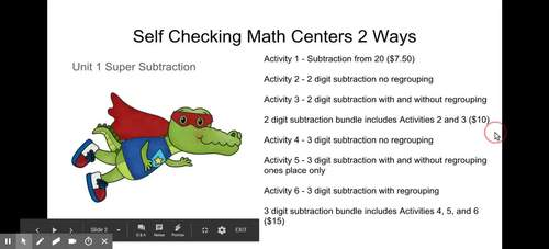 Super Subtraction Self Checking Math Centers 2 digit bundle