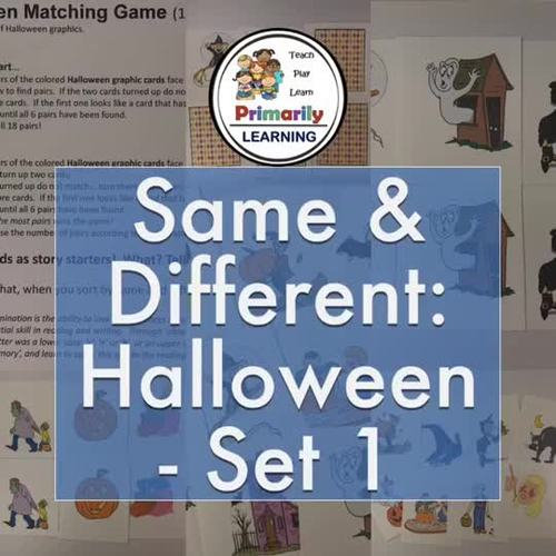 Same and Different: Matching Game for Halloween (Set 1)