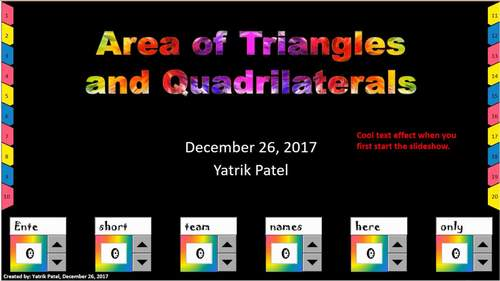 Area of Triangles and Quadrilaterals Review Game and Worksheet