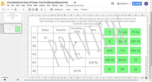 Circles: Find the Missing Measurement DIGITAL Activity for Google Drive™