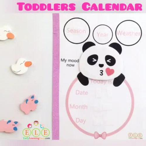 Toddler Kids Panda Calendar Kawaii, Cute for  girls and boys