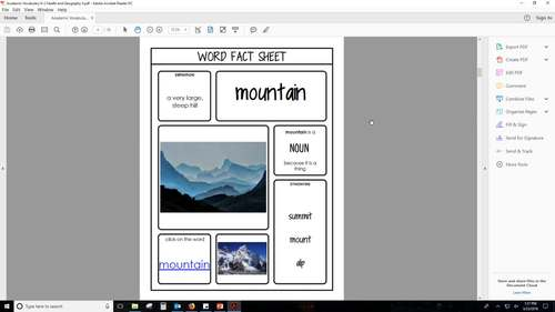 Academic Vocabulary - K-2 Health and Geography II