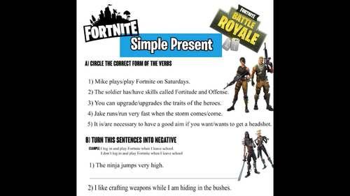 FORTNITE - SIMPLE PRESENT WORKSHEET
