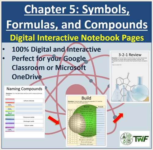 Chemical Symbols, Formulas, and Compounds - Digital Interactive Notebook Pages