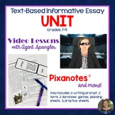 Informative Essay Video Unit with Pixanotes®, Prompt, Text