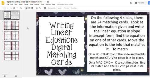 Writing Linear Equations Matching Card Google Activity Plus Quiz