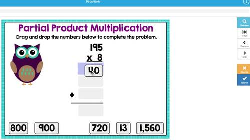 1-Digit Partial Product Multiplication Digital Boom Cards