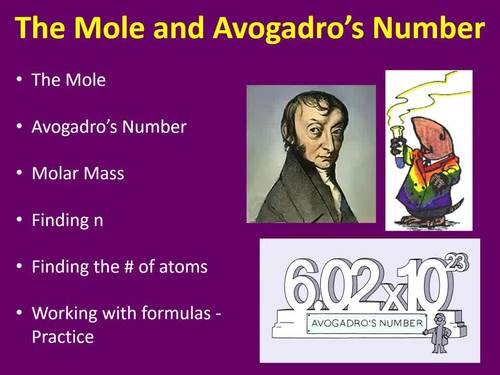 The Mole and Avogadro's Number - A Chemistry PowerPoint Lesson, Lab and Activity