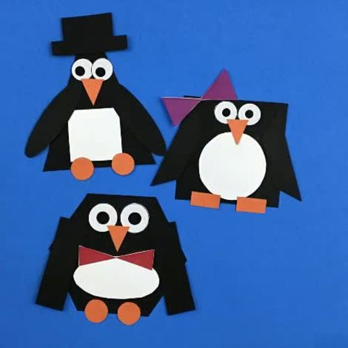 Shape Penguin Craft / Shape Unit / Cut and Paste Winter Craft