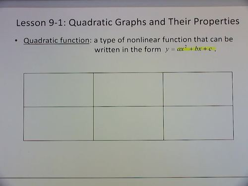 Algebra 1 Flipped Classroom - Chapter 9:  Quadratic Functions and Equations