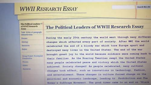 WWII Research Web-quest (Introduction, Task, Process, Resouces, Rubric)