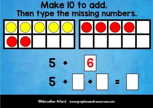 BOOM CARDS MATH (MAKE 10 TO ADD FOR KINDERGARTEN) IPAD GAMES DIGITAL TASK CARDS