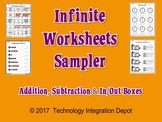 Infinite Worksheets Sampler (Addition, Subtraction & In/Ou