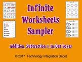 Infinite Worksheets Sampler (Addition, Subtraction & In/Ou