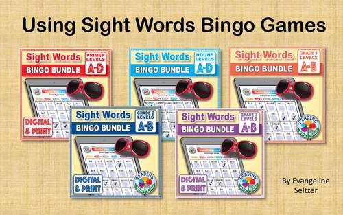 Dolch Nouns Sight Words Bingo BUNDLE: Digital & Print - 4 EASY Phonics Games