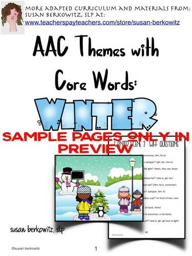 AAC Core Word Themes Winter Fun with Core