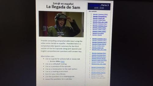 Extr@ en español Episode 1 Section 3 Summary with questions (Spanish Extra)