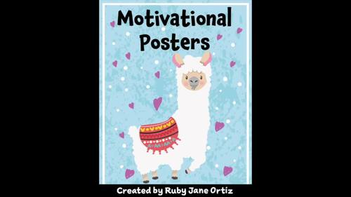 Llama Themed Motivational Posters for Back to School Bulletin Boards
