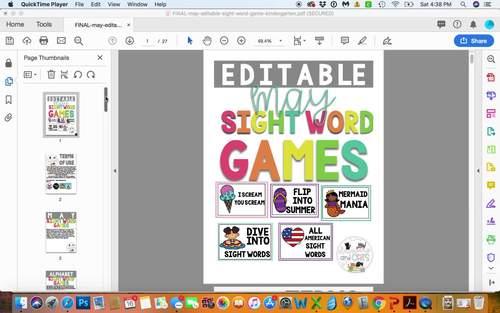 EDITABLE MAY sight word games for Kindergarten