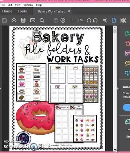 Bakery Work Tasks or File Folders