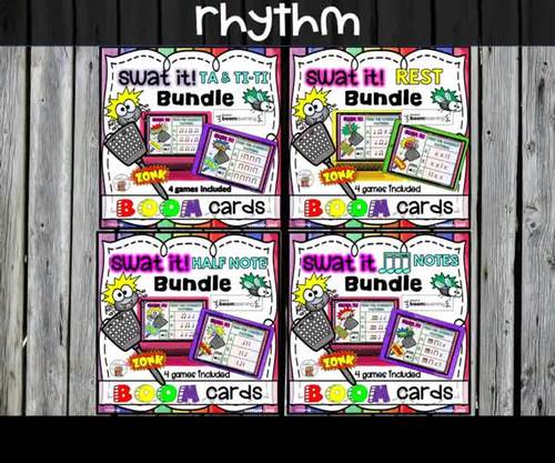 Swat the Bug Boom Cards - Rhythm (Sixteenth Notes Bundle) - Digital Task Cards