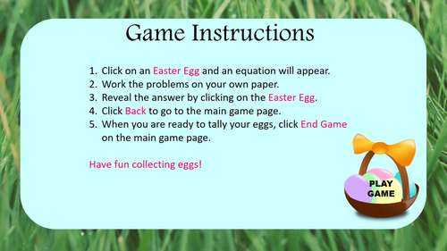 Solving Quadratic Equations - Quadratic Formula - PowerPoint Game Easter Math
