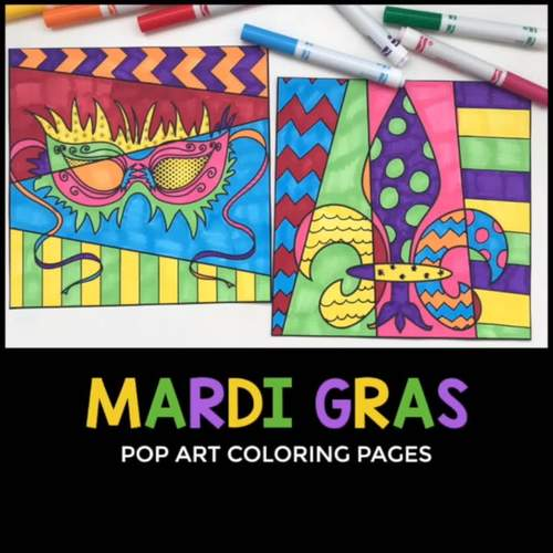 Mardi Gras Activity | Pop Art Coloring Pages + Writing Prompts