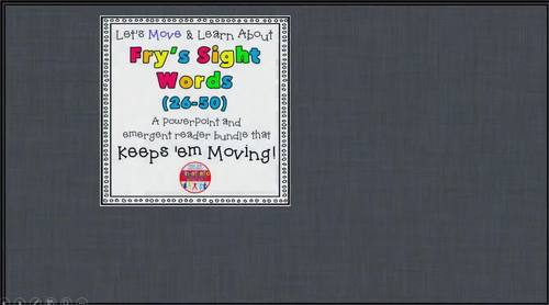 Sight Word Activity - PowerPoint & Emergent Reader Bundle Fry Sight Words 26-50