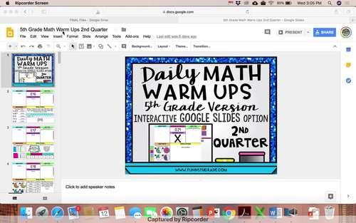 5th Grade Digital Math Warm Ups   Digital Morning Work