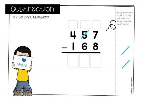 Subtracting 3 Digit Numbers with Regrouping Digital Task Cards