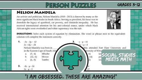 Person Puzzle - Percent Change - Barack Obama Worksheet