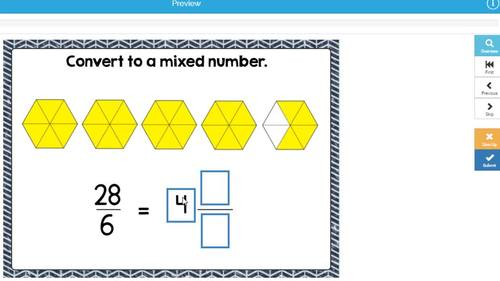 Mixed Numbers and Improper Fractions Digital Boom Cards