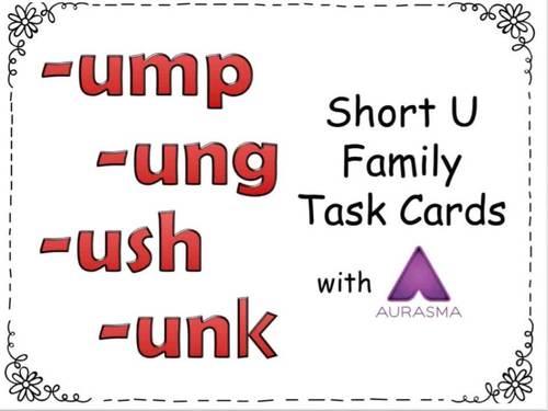 Augmented Reality Phonics Task Cards Using Aurasma - Short Vowel U Family