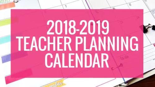 2018-2019 Colorful Teacher Planning Calendar Template