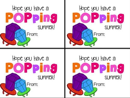 End of Year Gift Tag (Ring Pop- Hope you have a popping summer)