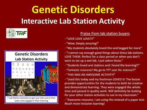 Genetic Disorders - Lab Station Activity