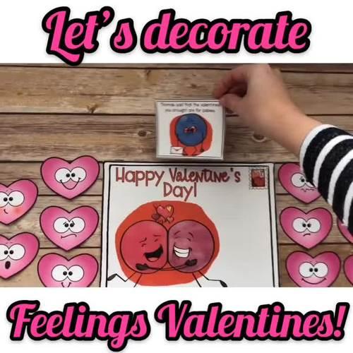 Let's Decorate FEELINGS VALENTINES! Feelings Identification Scenarios Game!
