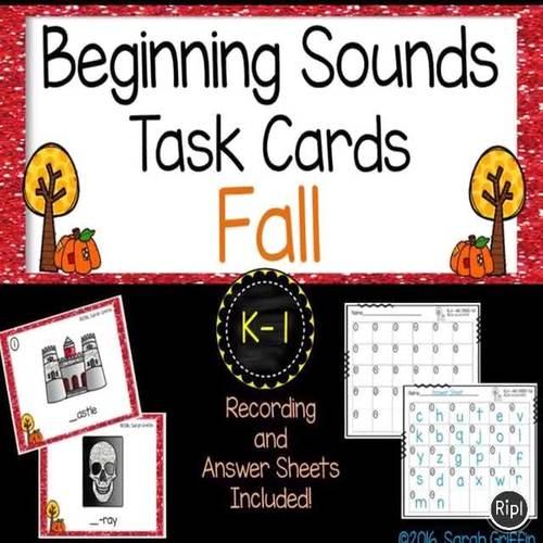 Beginning Sounds Fall Task Cards