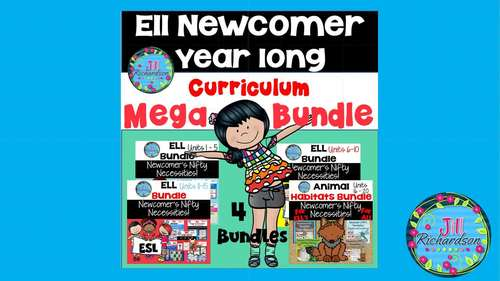 ELL Newcomer Year Long Curriculum Mega Bundle!  Units 1-20