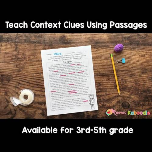 Context Clues Activities: Passages, Worksheets, & Anchor Charts - 3rd-5th grade