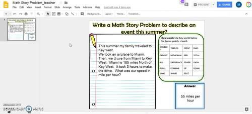 Digital Activity: Math Story Problem