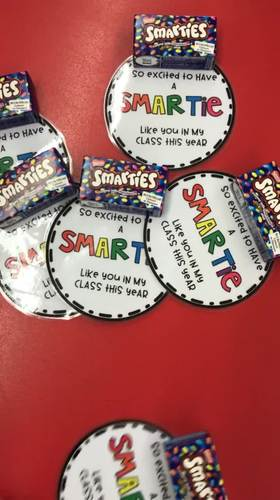 Smartie gift tag